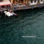Immagine aerea scattata durante il volo sul lago di Iseo: barche ormeggiate.